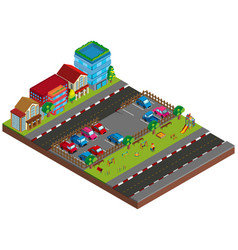 two scene with buildings and cars in 3d design vector image
