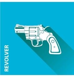 vintage pistol gun icon on blue vector image