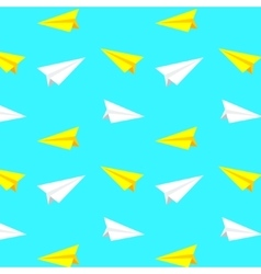 White and yellow paper planes pattern vector image