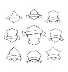 White shields set vector
