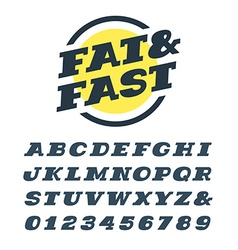 Wide italic slab serif font alphabet with latin vector image