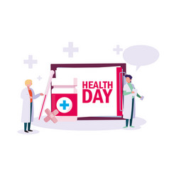 World health day card with doctors men vector