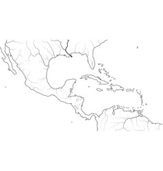 World map central america and caribbean region vector