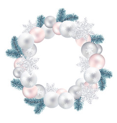 Wreath of christmas balls fir twigs snow-flakes vector