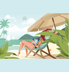 young beauty girl relaxing with music vector image