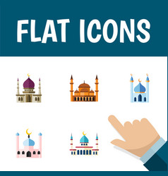 flat icon mosque set of traditional muslim islam vector image