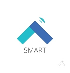 Flat smart home control logo house vector image