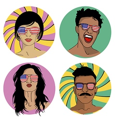 Girls and boys in sunglasses with US flag vector image vector image