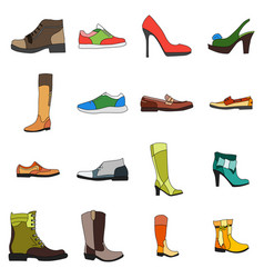 icons footwear men and women shoes in flat style vector image vector image