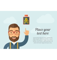 Man pointing the poisonous bottle icon vector image vector image