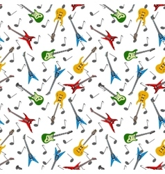 Music seamless pattern with guitars vector image