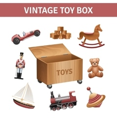 Vintage Toy Box Set vector image vector image