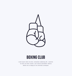 boxing gloves line icon box club logo vector image vector image