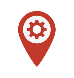 map pointer with gear icon vector image