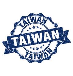 taiwan round ribbon seal vector image vector image