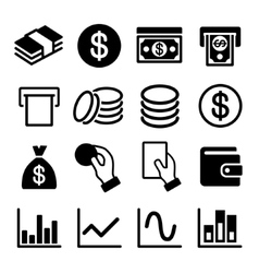 Money and business icon set vector image vector image
