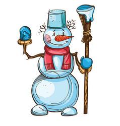 Snowman with carrot scarf bucket on the head and vector