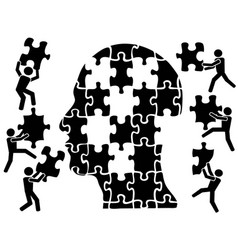 teamworks in head puzzle vector image