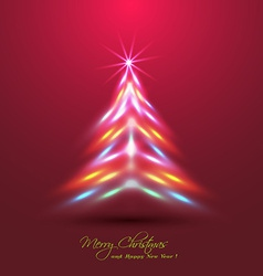 Christmas tree made of neon lights effect vector image vector image
