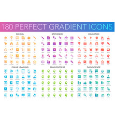 180 trendy perfect gradient icons set school vector image