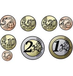 All european union euro coins vector