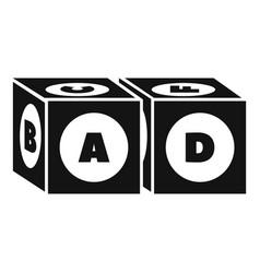 Alphabet cube icon simple style vector
