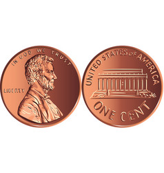 American money gold coin one cent penny vector