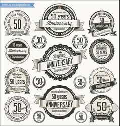 Anniversary retro badges collection 50 years vector