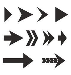 arrows set black flat icons vector image