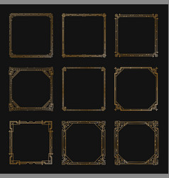 art deco square gold frames and borders set vector image