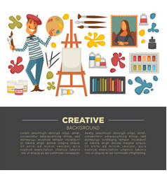 artistic studio poster with all tools to paint and vector image