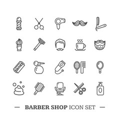 Barber shop icon thin line set vector