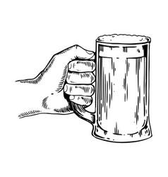 beer mug in hand engraving vector image
