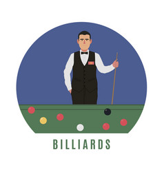 Billiards player flat style vector