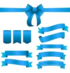 Blue Ribbon and Bow Set vector image