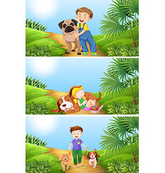 Boy and girl with pet dog vector