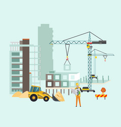 builders on the construction site building work vector image