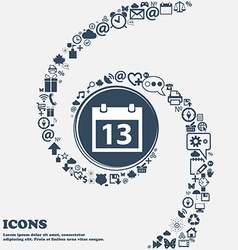 Calendar sign icon days month symbol Date button vector image