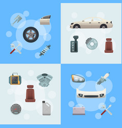 Car parts infographic concept vector