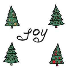 Cartoon fir-tree christmas tree greeting card vector