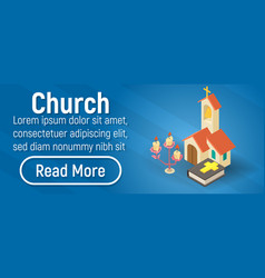 Church concept banner isometric style vector