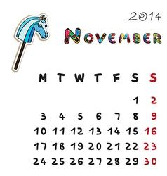 color horse calendar 2014 november vector image