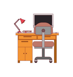 Colorful graphic of desk home with chair and lamp vector