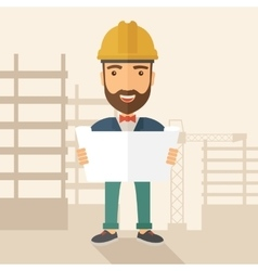 Construction worker holding the plan vector image