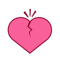 cracking heart broken graphic vector image