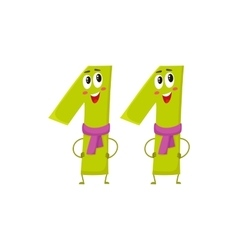 Cute and funny colorful 11 number characters vector
