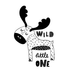 Cute hand drawn moose in black and white style vector