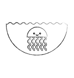 Cute jellyfish sealife icon vector
