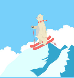 cute polar bear happy skiing on the top of a vector image