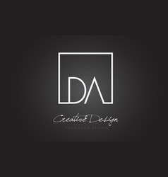 Da square frame letter logo design with black and vector
